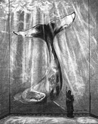 Whale Drawings Metal Prints - No Matter How Small Metal Print by J Ferwerda