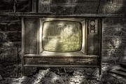 Old Tv Prints - No Ones Watching - Vintage Television in an old barn Print by Gary Heller