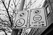 No Parking Prints - no parking loading zone and disabled parking signs chinatown Vancouver BC Canada Print by Joe Fox