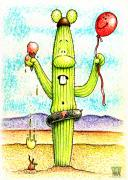 Cactus Art Drawings Posters - No Picnic  Poster by Cristophers Dream Artistry