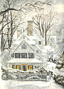 Snowstorm Drawings Posters - No Place Like Home For The Holidays Poster by Carol Wisniewski