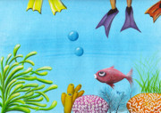 Fish Underwater Paintings - No Privacy by Oiyee  At Oystudio
