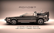 Delorean Posters - No Roads Poster by Patrick Charbonneau