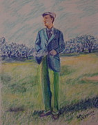Suit Pastels Posters - No smoking on the golf course Poster by Lee Ann Newsom