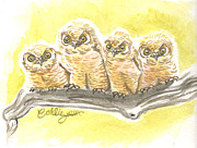 Great-horned Owls Paintings - No Talking to Strangers by Callie Smith