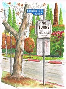 No People Originals - No Turn sign in Clinton Street - West Hollywood - California by Carlos G Groppa