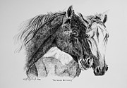 Quarter Horse Drawings Framed Prints - No Words Necessary Framed Print by Kelly Killough