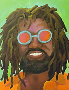 Rastafarian Paintings - No Worries by Diana Prickett