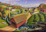 Old North Bridge Paintings - no1 Birthday Greetings by Walt Curlee