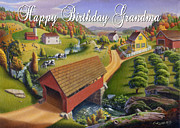 Old Barn Paintings - no1 Happy Birthday Grandma by Walt Curlee