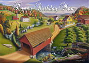 Old North Bridge Paintings - no1 Happy Birthday Mom by Walt Curlee