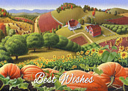 Pumpkins Paintings - No10 Best Wishes greeting card  by Walt Curlee