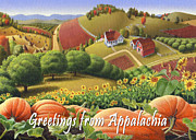Pumpkins Paintings - No10 Greetings from Appalachia greeting card by Walt Curlee