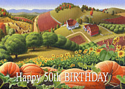 Pumpkins Paintings - No10 Happy 50th Birthday greeting card  by Walt Curlee