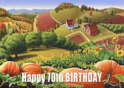 Pumpkins Paintings - No10 Happy 70th Birthday greeting card  by Walt Curlee