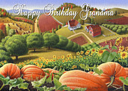 Pumpkins Paintings - no10 Happy Birthday Grandma by Walt Curlee