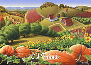 Pumpkins Paintings - No10 Old Friends greeting card  by Walt Curlee