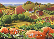Pumpkins Paintings - No10 Thinking of you greeting card by Walt Curlee