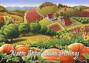 Pumpkins Paintings - No10 Warm Appalachian Greetings greeting card  by Walt Curlee