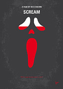 Face Art - No121 My SCREAM minimal movie poster by Chungkong Art