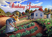 Garden Scene Paintings - no13A Birthday Greetings by Walt Curlee