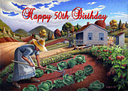 Garden Scene Paintings - no13A Happy 50th Birthday by Walt Curlee