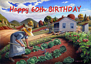 Garden Scene Paintings - no13A Happy 60th Birthday by Walt Curlee