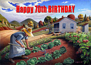 Garden Scene Paintings - no13A Happy 70th Birthday by Walt Curlee
