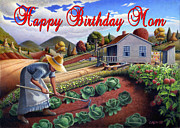 Garden Scene Paintings - no13A Happy Birthday Mom by Walt Curlee