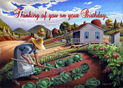 Garden Scene Paintings - no13A Thinking of you on your Birthday by Walt Curlee
