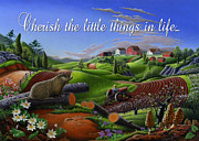Appalachia Paintings - no14 Cherish the little things in life 5x7 greeting card  by Walt Curlee