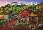 Birthday Cards Painting Originals - no16 Happy Birthday Dad by Walt Curlee