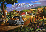 Pumpkins Paintings - no17 Best Wishes by Walt Curlee