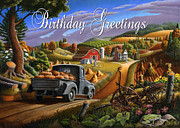 Halloween Scene Paintings - no17 Birthday Greetings by Walt Curlee