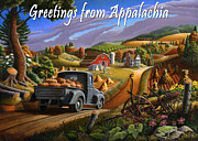 Pumpkins Paintings - no17 Greetings from Appalachia by Walt Curlee