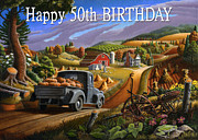 Birthday Cards Painting Originals - no17 Happy 50th Birthday by Walt Curlee
