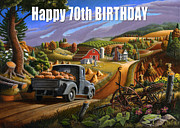 Pumpkins Paintings - no17 Happy 70th Birthday by Walt Curlee