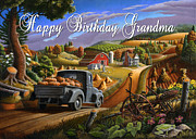 Pumpkins Paintings - no17 Happy Birthday Grandma by Walt Curlee
