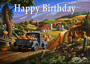 Halloween Scene Paintings - no17 Happy Birthday by Walt Curlee