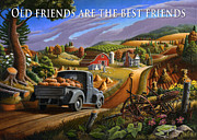 Halloween Scene Paintings - no17 Old friends are the best friends by Walt Curlee