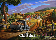 Pumpkins Paintings - no17 Old friends by Walt Curlee