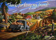 Pumpkins Paintings - no17 Thanks for being my friend by Walt Curlee