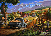 Halloween Scene Paintings - no17 Thinking of you on your Birthday by Walt Curlee