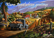 Halloween Scene Paintings - no17 Warm Appalachian greetings by Walt Curlee