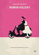 Audrey Hepburn Posters Framed Prints - No205 My Roman Holiday minimal movie poster Framed Print by Chungkong Art