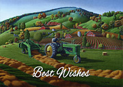 John Deere Paintings - no21 Best Wishes 5x7 greeting card  by Walt Curlee