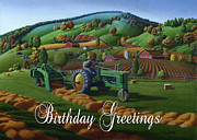 John Deere Paintings - no21 Birthday Greetings 5x7 greeting card  by Walt Curlee