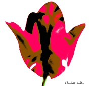 Pink Flower Prints Mixed Media Prints - No.3 Floral Pop Art Tulip Collection Print by Eliz Calder