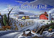 Old Barn Paintings - no3 Happy Birthday Dad  by Walt Curlee