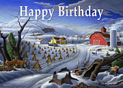 Old Barn Paintings - no3 Happy Birthday by Walt Curlee